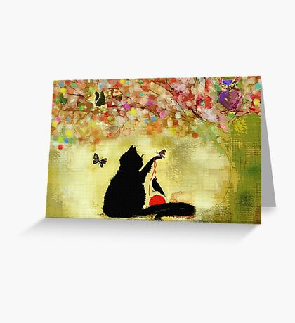 The Owl Watches Kitty at Play  Greeting Card