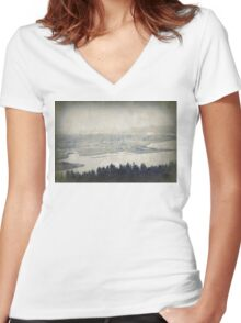 view from the Astoria Column Youngs Bay Women's Fitted V-Neck T-Shirt