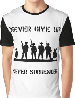 Never Give Up Military Graphic T-Shirt