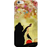 The Owl Watches Kitty at Play  iPhone Case/Skin