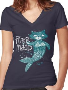 Purrr-Maid cats Women's Fitted V-Neck T-Shirt