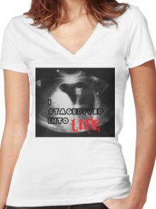 Rock - I stagedived into Life Women's Fitted V-Neck T-Shirt