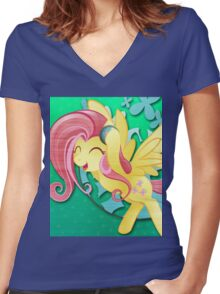 Fluttershy - My Little Pony Women's Fitted V-Neck T-Shirt