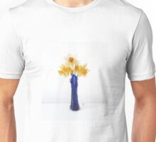 Still LIfe Daffodil in Blue Glass Vase Unisex T-Shirt