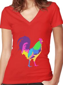 Psychedelic Chicken Women's Fitted V-Neck T-Shirt