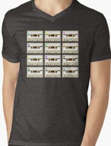 Retro Cassette Tape Print Mens V-Neck T-Shirt