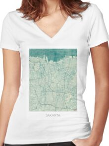 Jakarta Map Blue Vintage Women's Fitted V-Neck T-Shirt