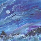 A Ship on the Sea at Night by Mandolin-Crow