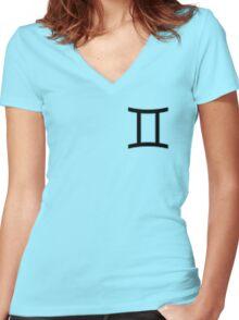 Gemini Zodiac Symbol Standard Women's Fitted V-Neck T-Shirt