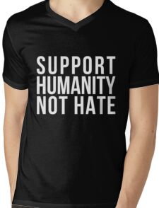 Support Humanity Not Hate (White) Mens V-Neck T-Shirt