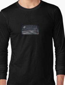 peaceful snowy night chalkboard scene Long Sleeve T-Shirt