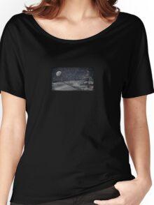 peaceful snowy night chalkboard scene Women's Relaxed Fit T-Shirt