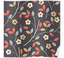 Decorative flowers and leaves Poster