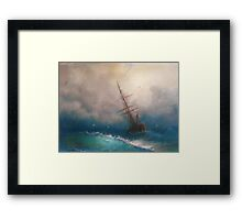 Ship in Rough Seas Framed Print