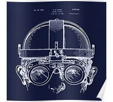 Vintage Welders Goggles blueprint detail drawing Poster