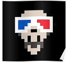 3D Glasses Skull Poster