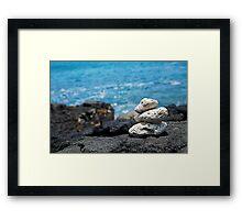 White Coral Zen Rocks on Hawaiian Coast Ocean Water Framed Print