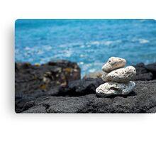 White Coral Zen Rocks on Hawaiian Coast Ocean Water Canvas Print