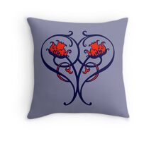 Roses for a heart, modern art nouveau, blue and red Throw Pillow