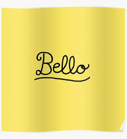 Funny Bello Hello Typography in Yellow and Black Poster