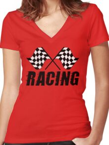 Racing Flags  Women's Fitted V-Neck T-Shirt
