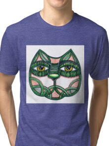 Cat green pattern white Tri-blend T-Shirt
