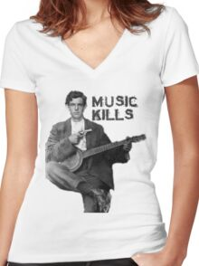 Music Kills Women's Fitted V-Neck T-Shirt