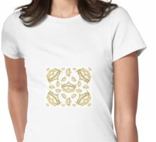 Queen of Hearts gold crown tiara tossed about by Kristie Hubler Womens Fitted T-Shirt