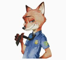 Zootopia Nick Wilde Police Officer/Cop (All Black) Kids Tee
