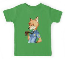 Zootopia Nick Wilde Police Officer/Cop (All White) Kids Tee
