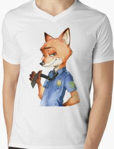 Zootopia Nick Wilde Police Officer/Cop (All White) Mens V-Neck T-Shirt