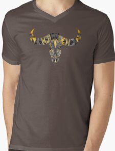 Water Buffalo Skull – Black & Yellow Mens V-Neck T-Shirt