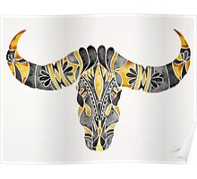 Water Buffalo Skull – Black & Yellow Poster