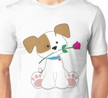 Cute Puppy with Rose Unisex T-Shirt