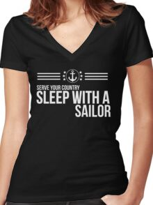 Serve Your Country - Sleep With A Sailor Women's Fitted V-Neck T-Shirt