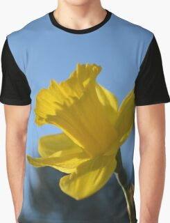 Spring yellow daffodil flower in blue sky  Graphic T-Shirt