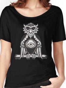 3RD EYE OWL BLACK Women's Relaxed Fit T-Shirt