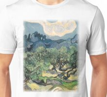 Olive Trees by Vincent van Gogh. Famous landscape oil painting. Van Gogh's unique swirling painting style. Unisex T-Shirt