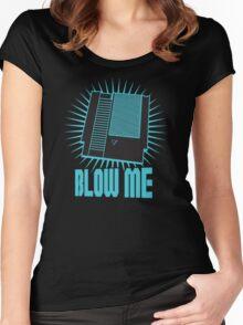 Nintendo Blow Me Cartridge Funny T-Shirt Women's Fitted Scoop T-Shirt
