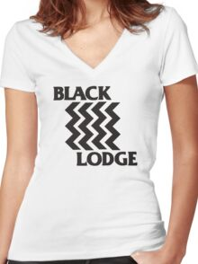 Twin Peaks Black Lodge Black Flag Parody Women's Fitted V-Neck T-Shirt