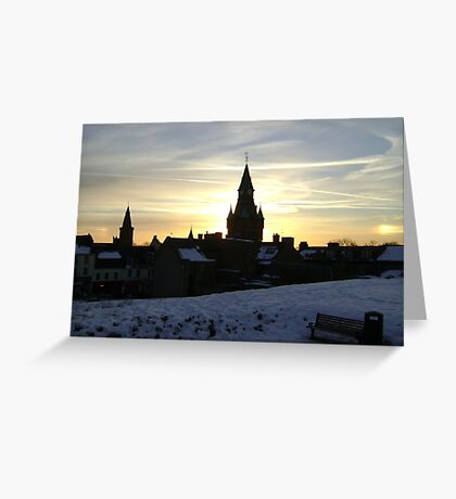 Sundogs, sunset behind City Chambers, Dunfermline Greeting Card