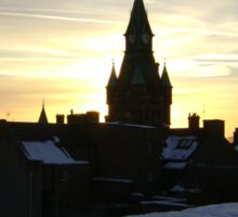 Sundogs, sunset behind City Chambers, Dunfermline Sticker