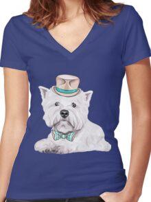 dog West Highland White Terrier Women's Fitted V-Neck T-Shirt