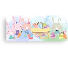 Cute Watercolors Easter Bunnies Eggs Basket Canvas Print