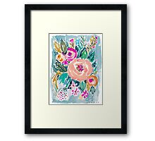 PEACH SPIN FLORAL Framed Print