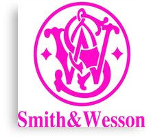 Smith and Wesson Firearms Pink Logo Canvas Print