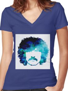 Burton Cummings Blue Abstract Women's Fitted V-Neck T-Shirt