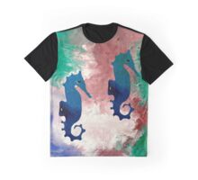 Colorful Sea Horses Abstract Acrylic Painting Graphic T-Shirt