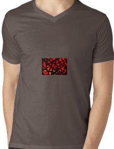 Black On Red Mens V-Neck T-Shirt