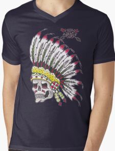 Indian Chief Skull Mens V-Neck T-Shirt